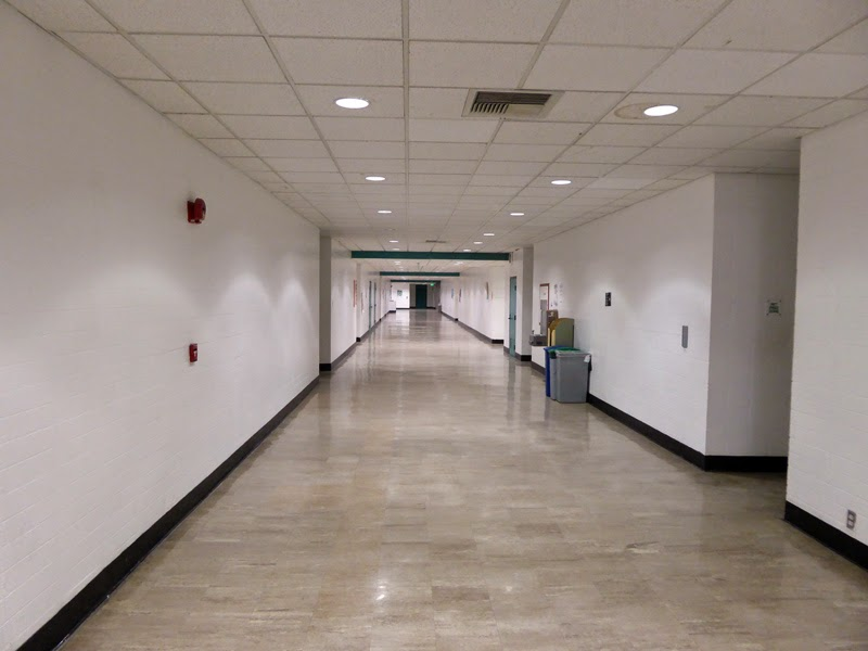 A hellishly barren hallway at the California Institute of the Arts