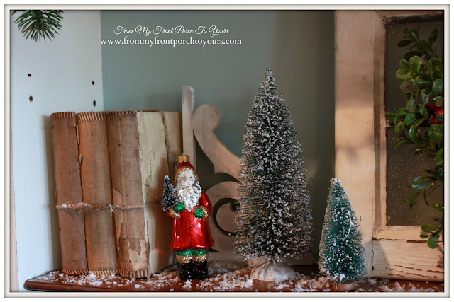 Vintage-Farmhouse- Christmas-Secretary-Vignettes-Bottlebrush Tree-A Merry little Christmas- From My Front Porch To Yours