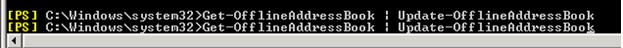 c:\Windows\system32>Get-OfflineAddressBook: Update-OfflineAddressBook