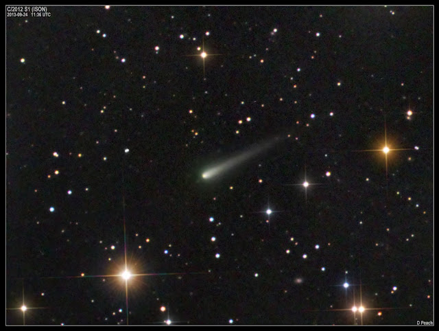 "Another great photo of the ""greening"" of Comet ISON taken on Sept. 24 with a 17-inch (43-cm) telescope. Click to enlarge. Credit: Damian Peach"