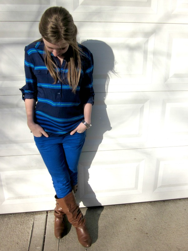 stripes + cobalt jeans