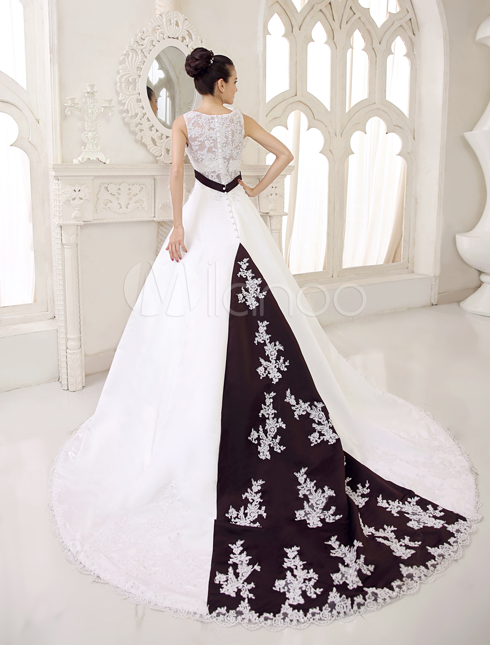 China Wholesale Dresses - A-line V-Neck Empire Waist Sash Beading Embroidery Lace Satin Wedding Dress