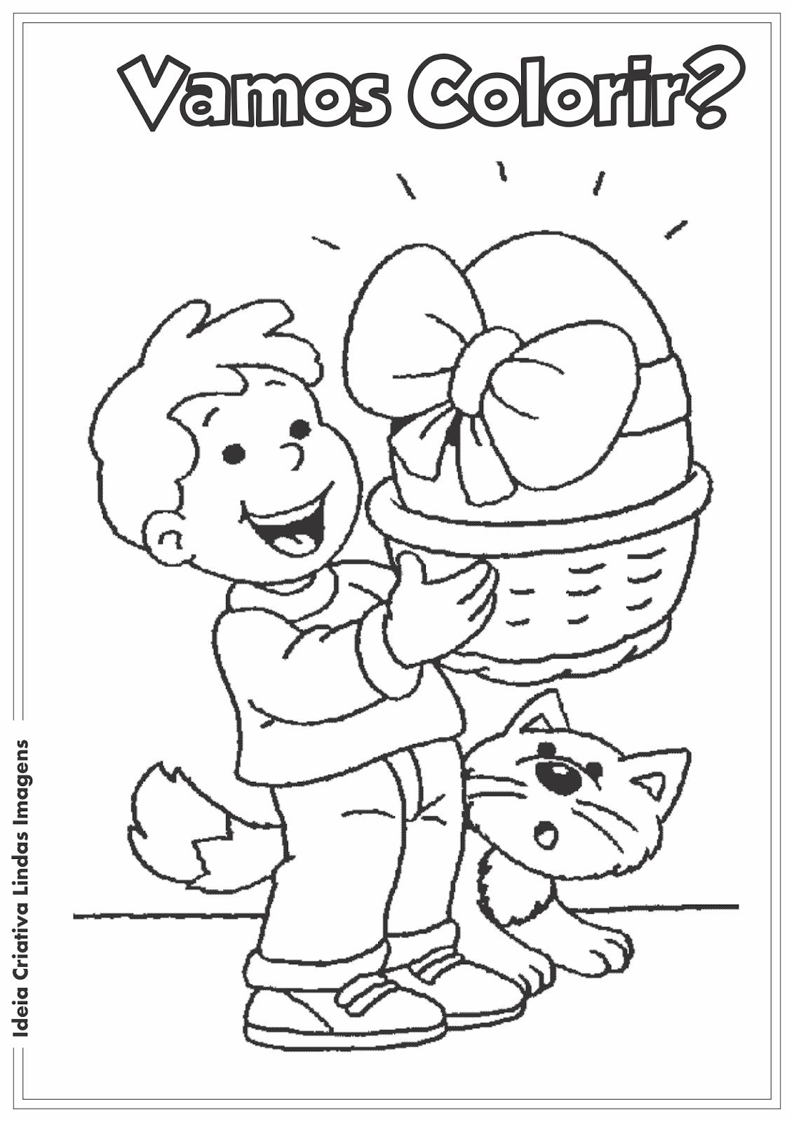 Desenho pra colorir - Páscoa Comercial