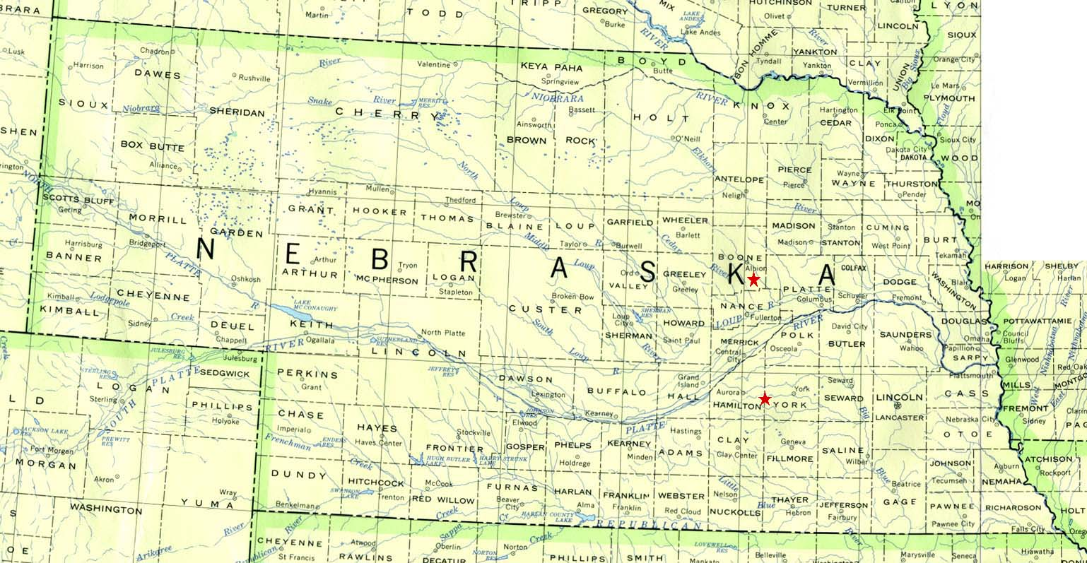 Nebraska hamilton county - York County Is The Star To The Bottom Of The Map Boone County Is The Star Above It