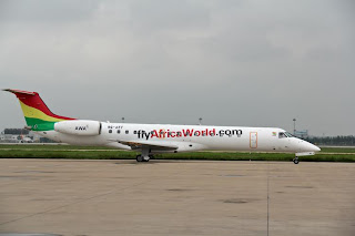 Ghana's Africa World Airlines Embraer 145 9G-AET in Tianjin, China