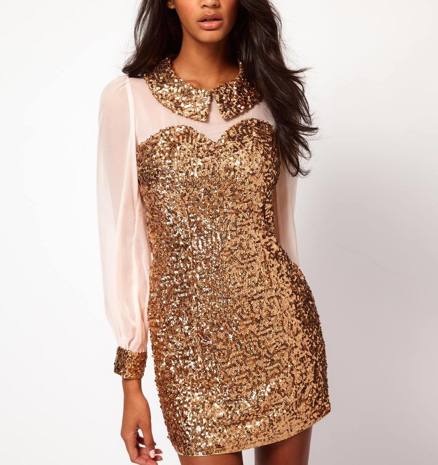 new-years-eve-dresses-Rare-Sequin-Collar-And-Cuffs-Shift-Dress-ASOS ...