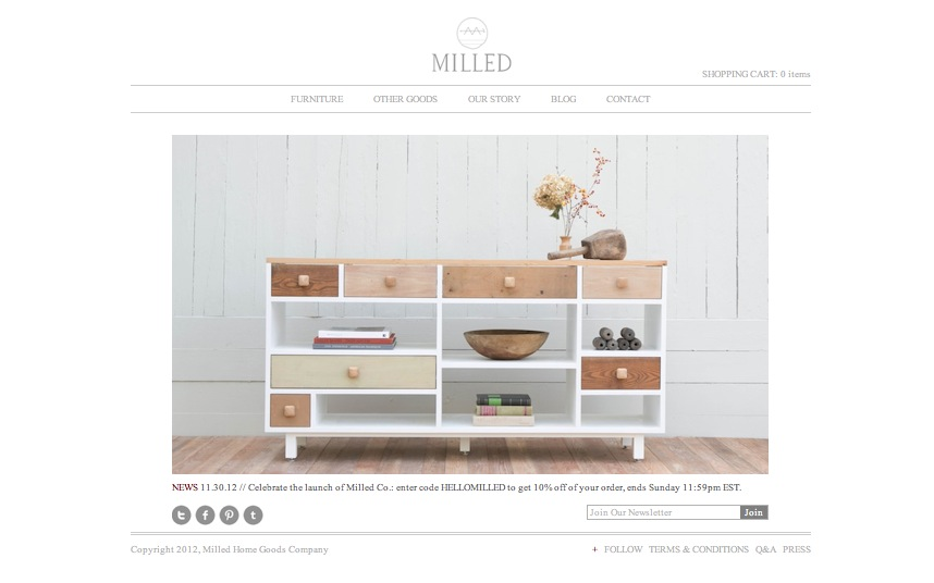 The Milled Home Goods Co  site officially went live on November 29  2012   The new home of Milled is www milledco com  The entire project has been a  long. Milled Home Goods Co   WEBSITE LAUNCH