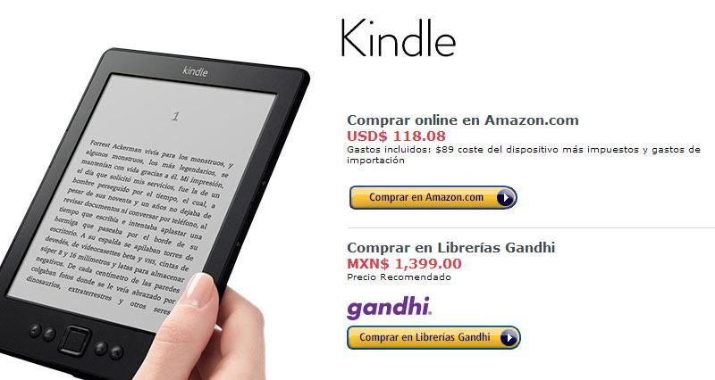 Venta del Kindle en México: online, o con Gandhi