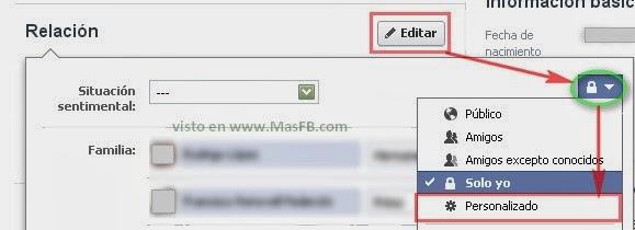 Privacidad en la relación sentimental de Facebook