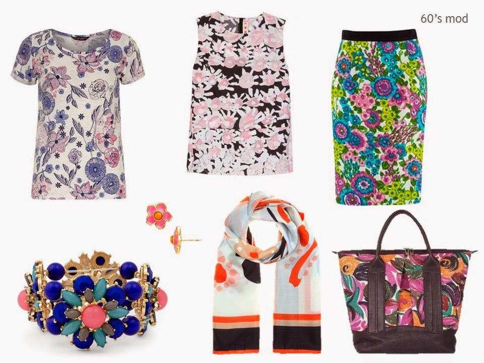 sixties mod floral prints in garments and accessories