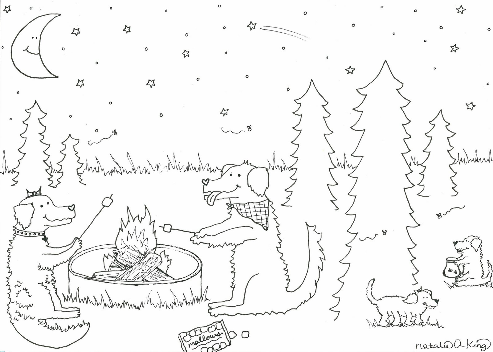 It is a picture of Satisfactory S'mores Coloring Page