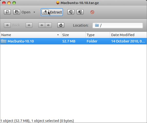 Install MacBuntu di Ubuntu 12.04 LTS - Extract Package