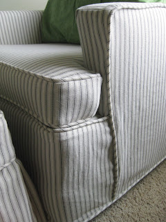 Ticking Stripe Chair Slipcovers By Shelley