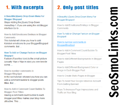 recent post widget for bloggers