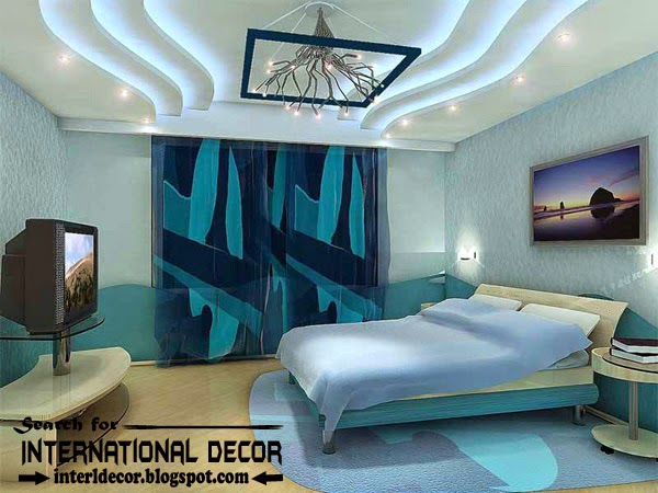 LED ceiling lights, LED strip lighting, plasterboard fals ceiling for bedroom