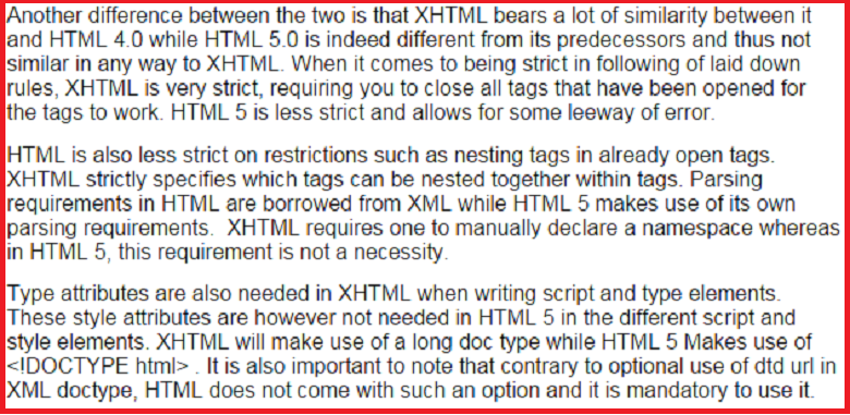 Difference between XHTML and HTML