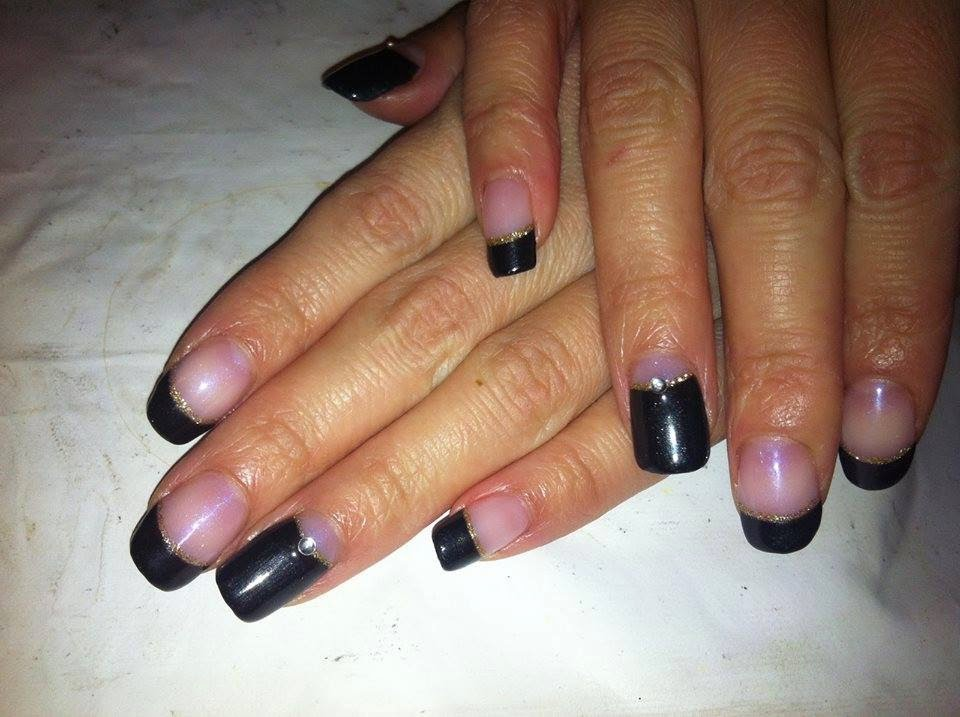 Acrylic back-fill + LED polish manicure in french and reverse black