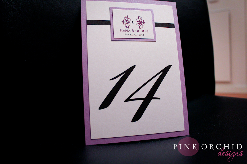 purple wedding menu card