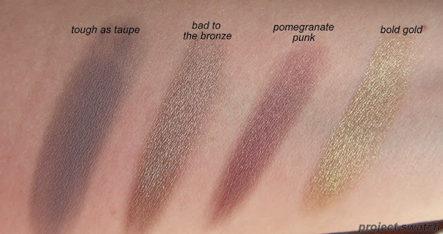 maybelline color tattoo swatches - tough as taupe, bad to the bronze, pomegranate punk, bold gold