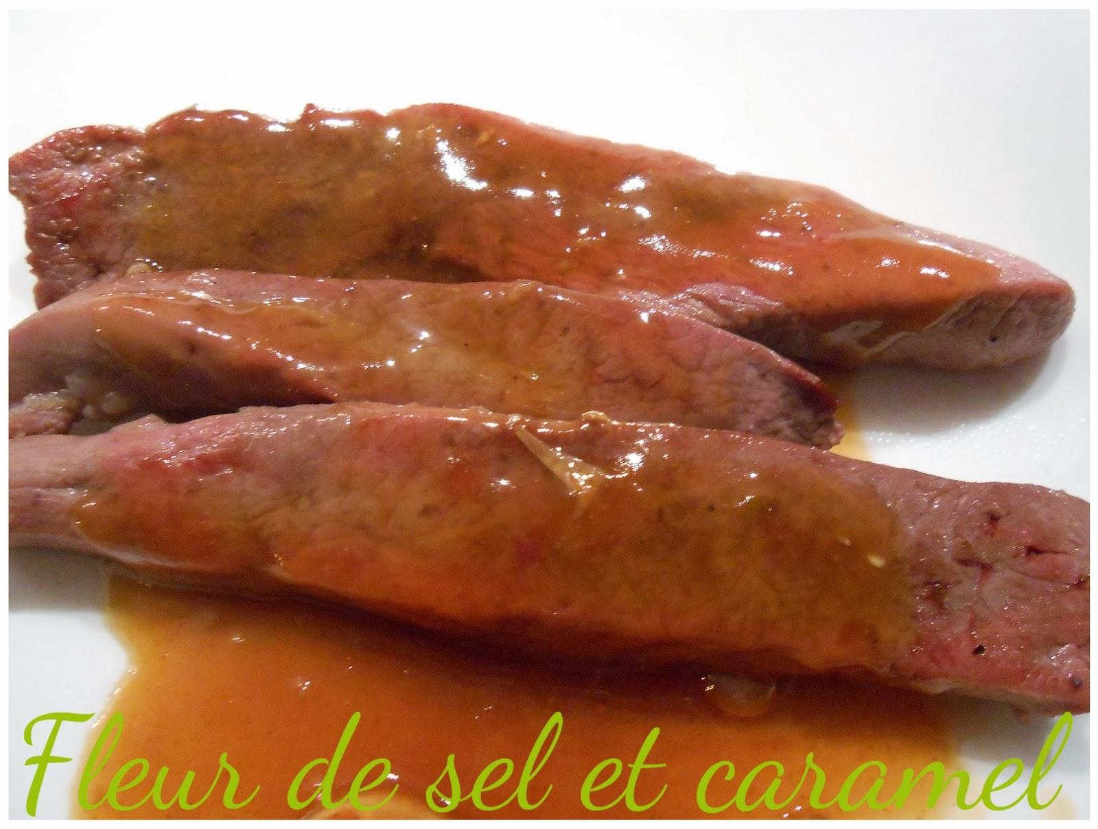 Aiguilettes de canard à la sauce d'orange et miel