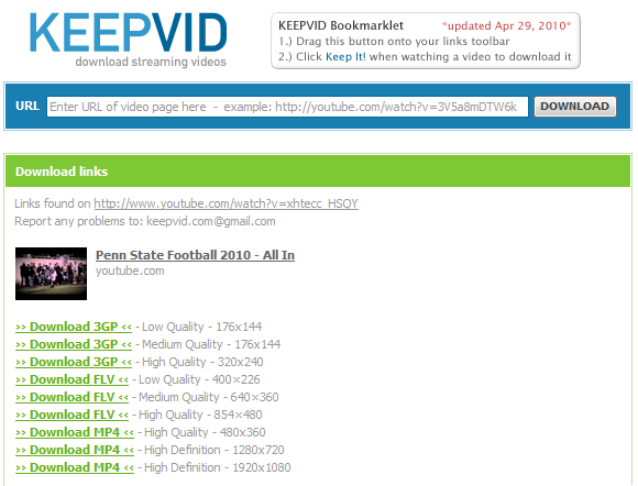 Keepvid YouTube Downloads