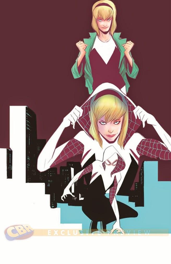 Spidergwen, la Spiderwoman procendente de un universo alternativo en el que la araña radiiactiva le picó a ella en vez de a Peter Parker.