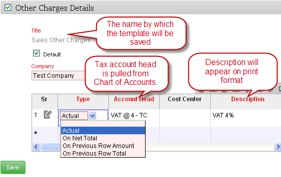 ERPNext User Manual: How to Create a Template for Taxes and Other ...