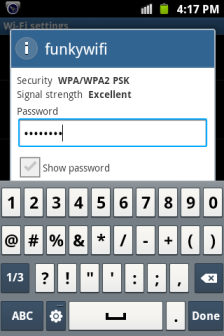 Android WiFi Password Entering