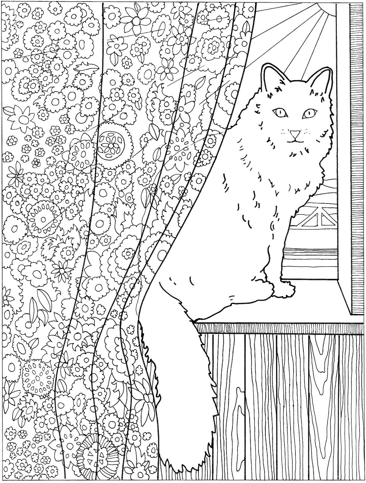 Cat And Dandelion Cat In The Window Coloring Page