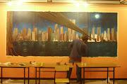 Malarstwo ścienne, mural w barze.