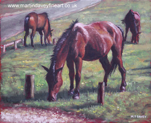 three new forest horses on grass oil painting