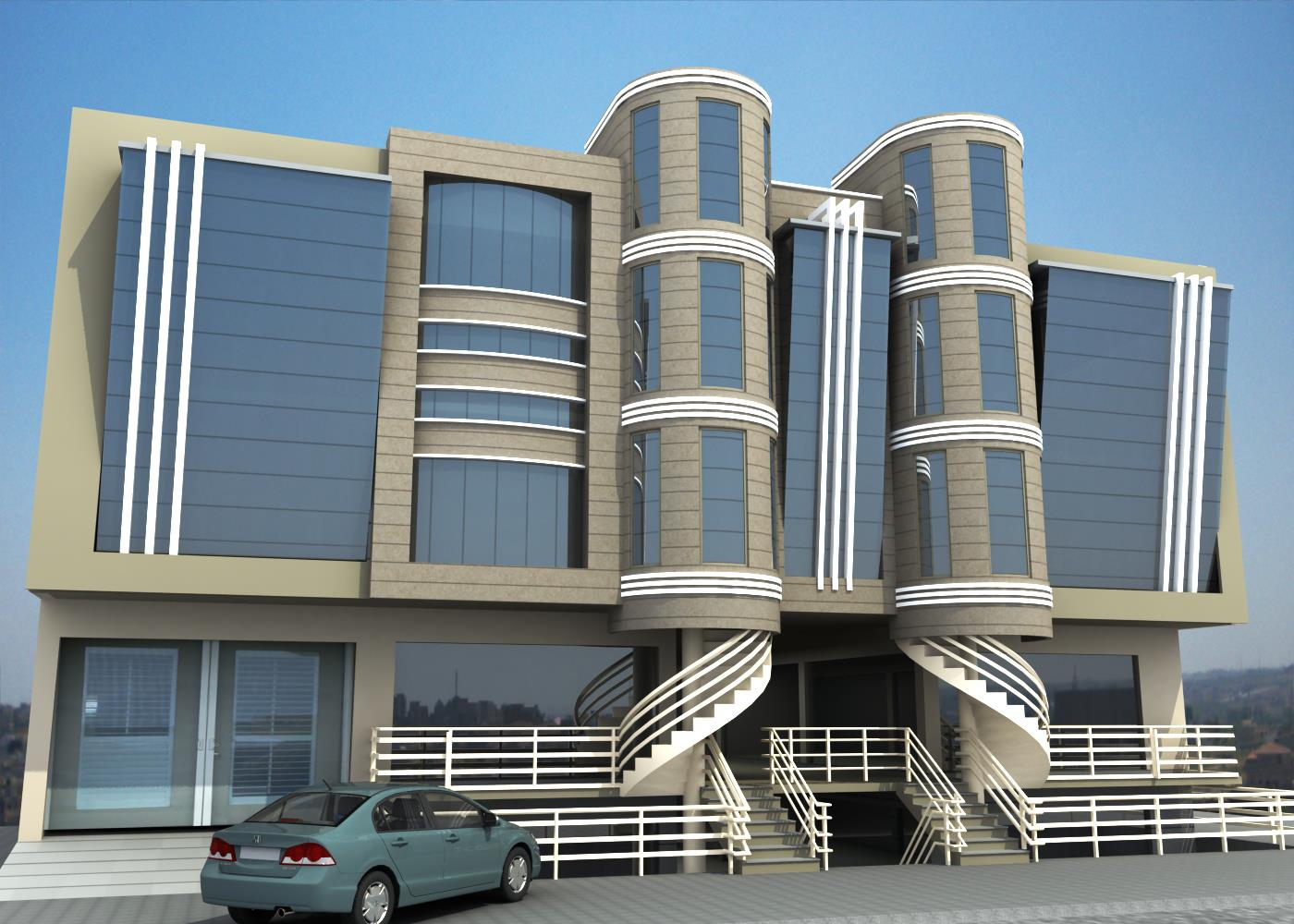 Commercial buildng design 3d architecture visualizations for Architectural commercial design