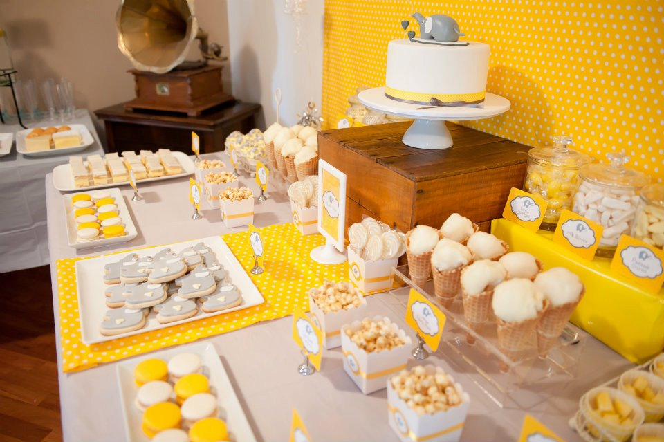 Sunny yellow and grey elephant themed baby shower by lil miss macaron