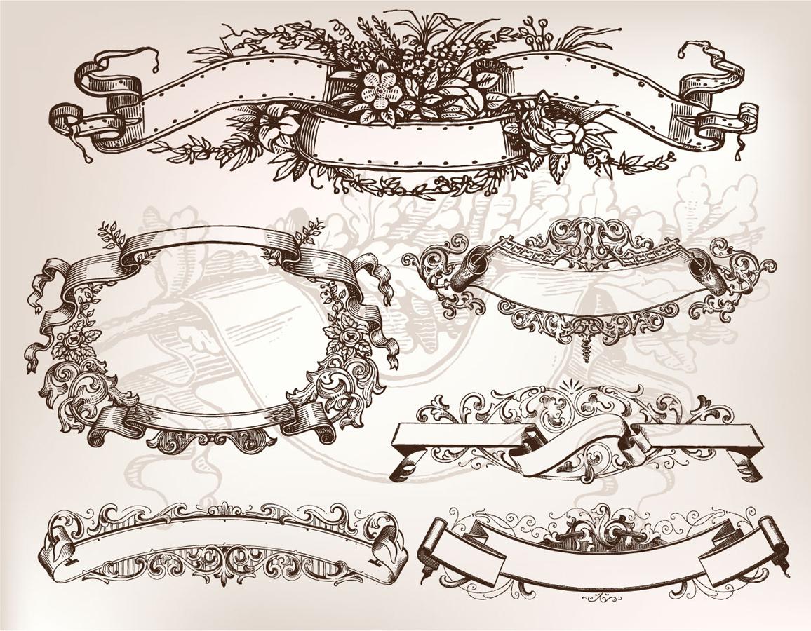 古風なデザインのリボン バナー nostalgia and banner paper pattern イラスト素材4