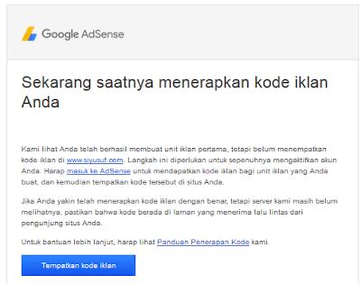 email pemberitahuan menempatkan kode iklan adsense di blog