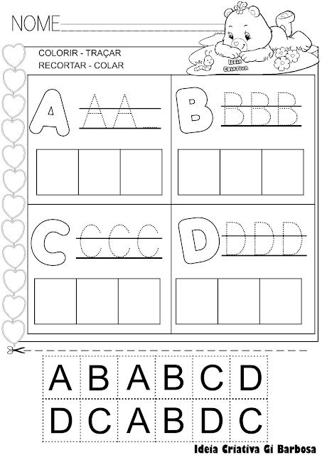 Atividades Letras do Alfabeto Pontilhado Corte e Recorte Educativo