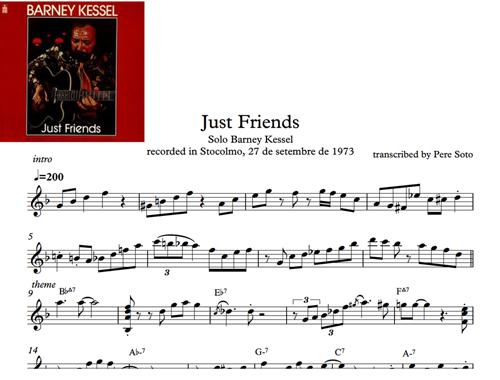 PERE SOTO (jazz guitar-composer): Just friends, Barney Kessel solo ...