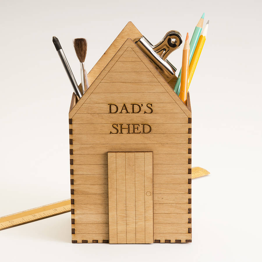 Personalised wooden shed design desk tidy by Bombus via ...