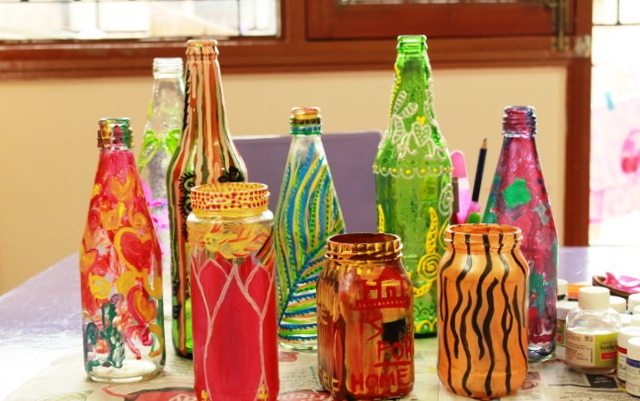 Hand Painted Glass Bottle Craft Art Ideas