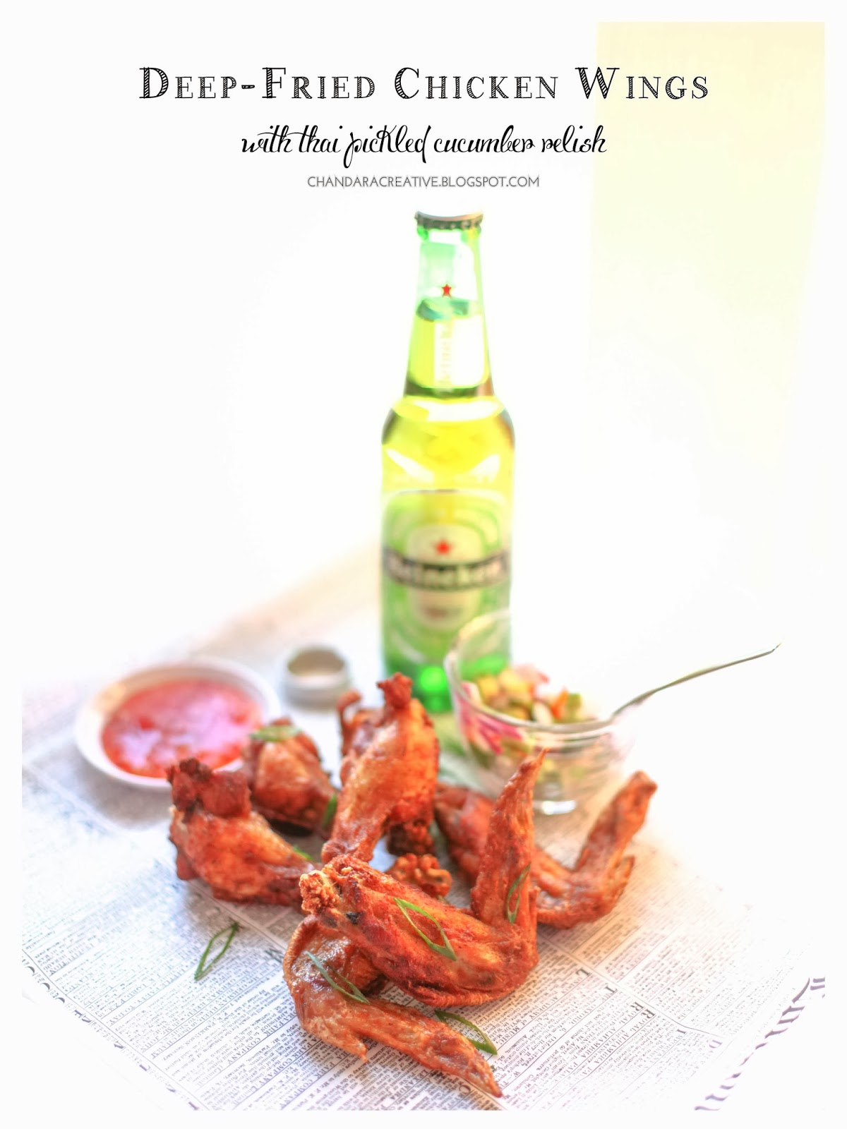 Deep-Fried Chicken Wings with Thai Pickled Cucumber Relish | via Chandara Creative