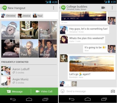 Google+ Hangouts Chat Application for Android and iOS