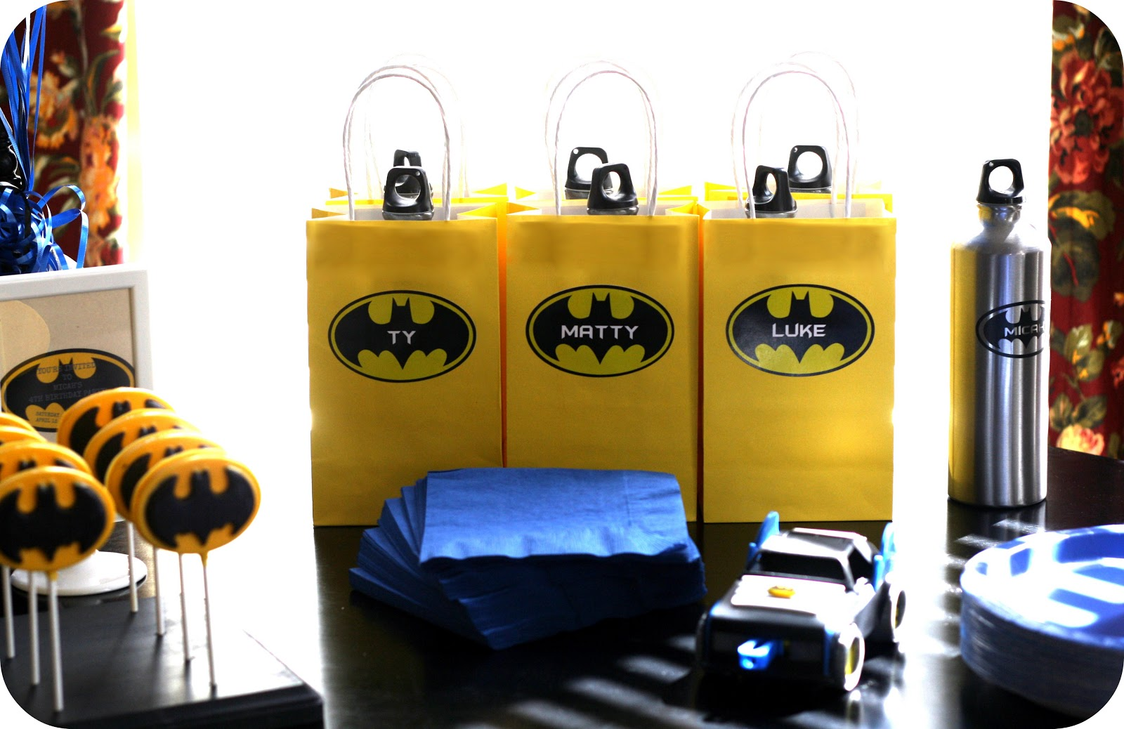Batman Birthday Personalized Water Bottles And Favor Bags