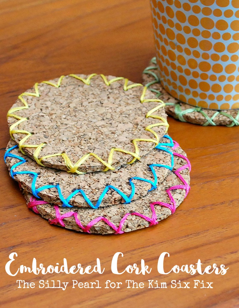 Diy embroidered cork coasters the kim six fix for Homemade coaster ideas