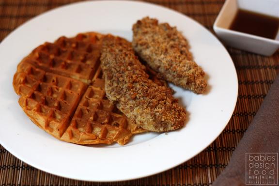 babies, design & food: Sweet Potato Waffles & Pecan Crusted Chicken