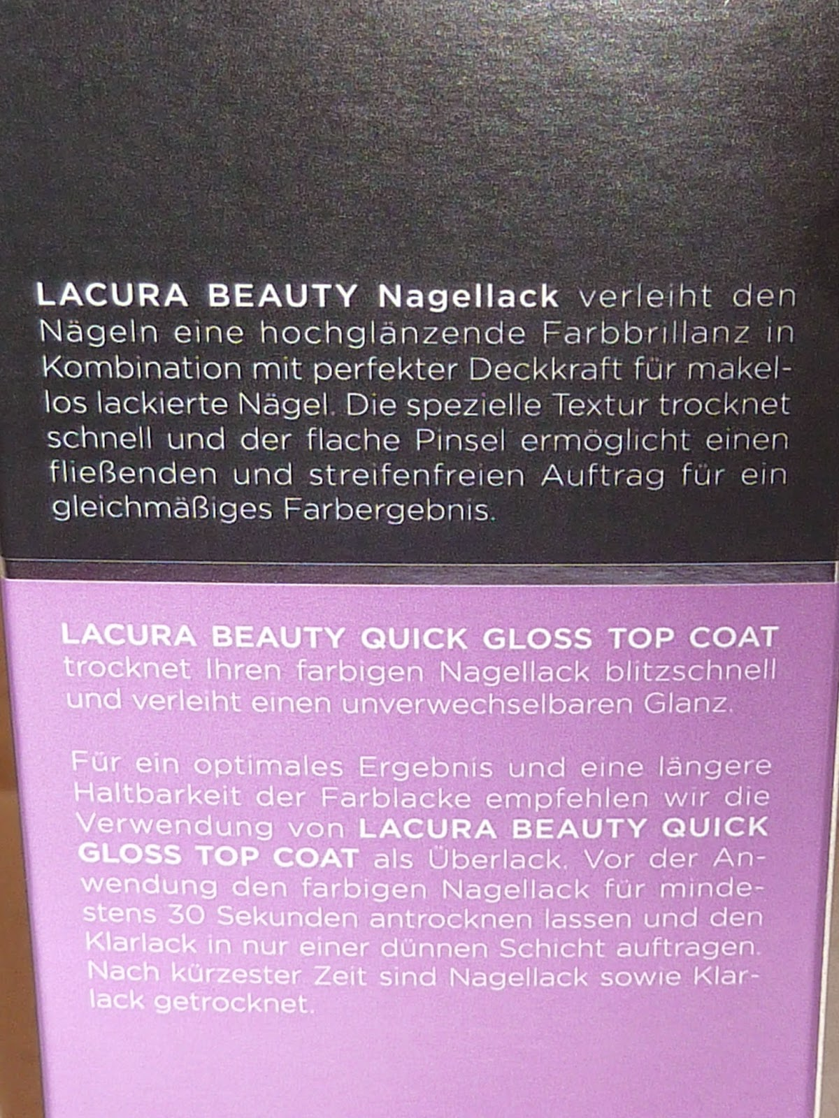 meine kosmetik lacura quick gloss top coat. Black Bedroom Furniture Sets. Home Design Ideas