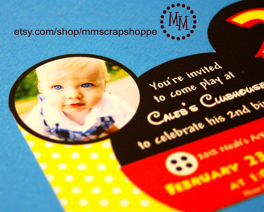 mickey mouse stud muffin birthday invitations the scrap shoppe