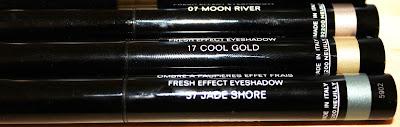 L'ete Papillon de Chanel Stylo Eyeshadows- Moon River, Cool Gold, Jade Shore