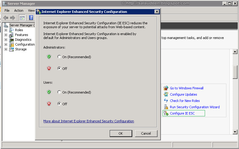 Configure Internet Explorer Enhanced Security - IE ESC