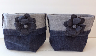 recycled blue jeans into storage bins with diy denim flowers