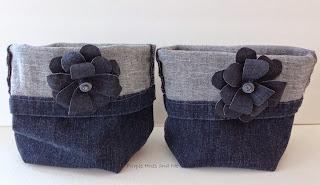 recycled blue jeans into storage bins with diy denim flowers